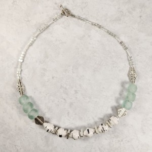 The Skyra | handmade recycled seafoam glass and paper bead choker necklace, sterling silver, Mykonos ceramic, Miyuki beads, Gifts for Her