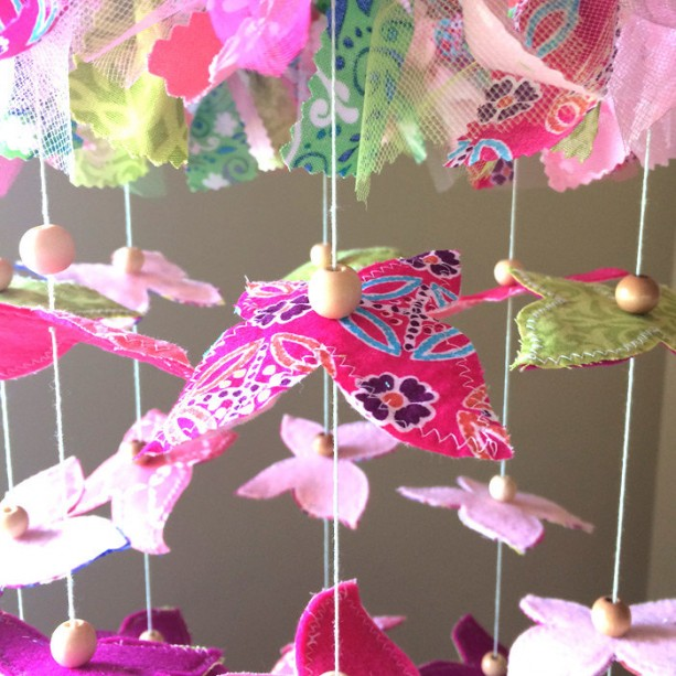 Baby Mobile - Butterflies Mobile - Baby Girl Mobile - girl nursery - Modern Nursery Mobile - Nursery Mobile - Coral Decor