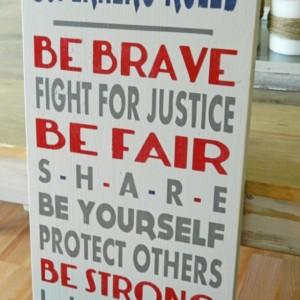 Superhero Rules - Slightly Distressed Wood Art Typography Sign - Boys Room Sign - Kids Room Sign - Little Boys - Superhero