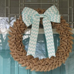 Tan Burlap Wreath with Bow