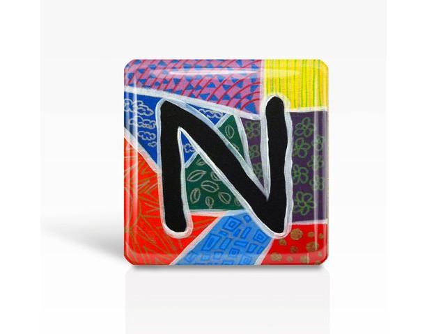 "ALPHABET Letter ""N"" - Glass MAGNET By Artist A.V.Apostle- 2""x 2"""