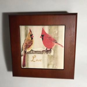 Mahogany Finished Wood Jewelry Box-Customized Jewelry Box-Cardinals Treasure Box-Wood Jewelry Box-Keepsake Box-Gifts-Bridesmaid-Mother's Day