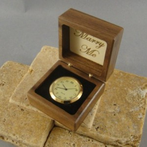 Ring Box of Walnut with Two Birds inlaid.  Free Shipping and Engraving. RB34