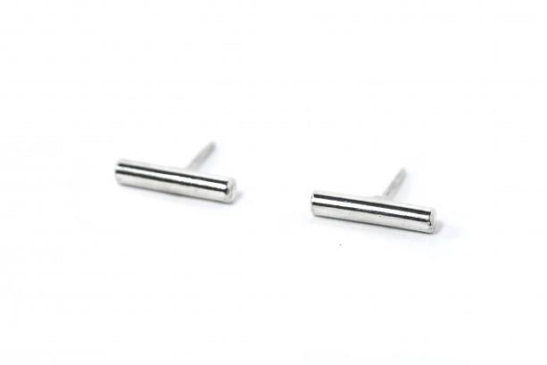 Tiny Silver Bar Studs