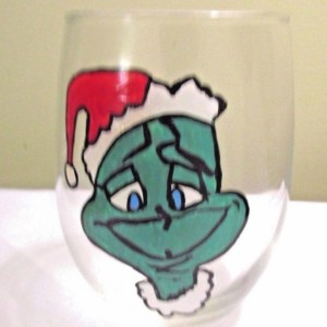Grinch Glass Christmas 12 oz. Hand Painted