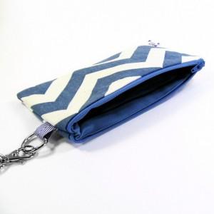 Medium Wristlet Zipper Pouch Clutch - Denim Chevron