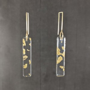 The Aurora | handmade resin foil flake earrings, rectangular ear wires, lucite jewelry, acrylic resin, silver foil, gold foil, Gifts for Her