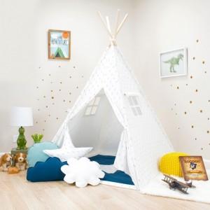 White with Blue Mini Arrows kids Teepee Set