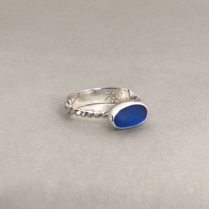Size 7 1/2 Cobalt Sea Glass Ring