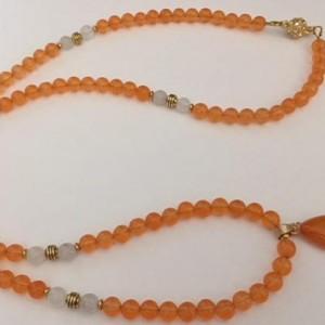 Orange Jade Beaded Necklace
