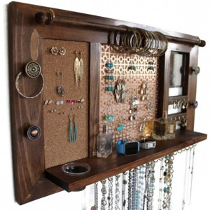 Deluxe All-in-One Jewelry Organizer - Wooden Wall Hanging Jewelry Shelf with Mirror