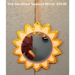 Pink Sun Glitter Sunburst Mirror