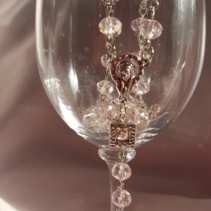 Women's Pink Glass Rosary Beads