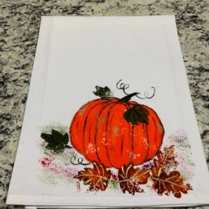 Pumpkin flour sack dish towel, rustic kitchen decor,Christmas gift for Mom, Thanksgiving decor, fall home decor, Autumn gift idea