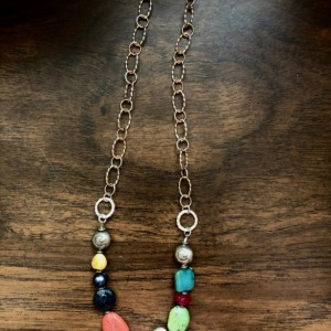 Necklace with multicolored beads, Hill Tribe silver heart, sterling silver chain, beads and findings