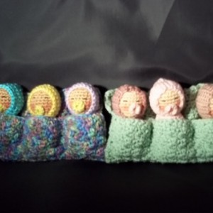 Three Sleeping Babies - Shades of pink and Mauve-Green Blanket