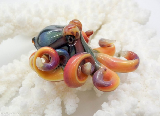 The Clouded Loki GLOW Kracken Collectible Wearable  Boro Glass Octopus Necklace / Sculpture Made to Order