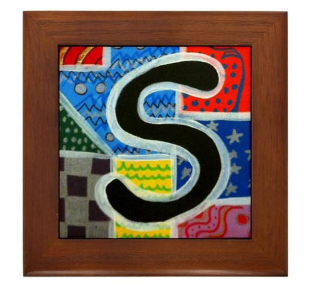 """Folk Art - Letter """"S"""" - FRAMED TILE By Artist A.V.Aposte"""