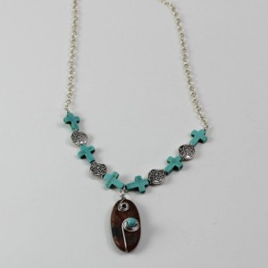 Wire Wrapped Stone Pendant and Turquoise Cross Necklace