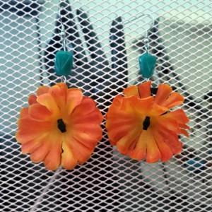 Orange and Teal Flower Earrings