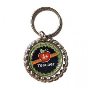 A+ Teacher  Bottle Cap Keychain, Teacher, Teacher Gift, School, Back to School