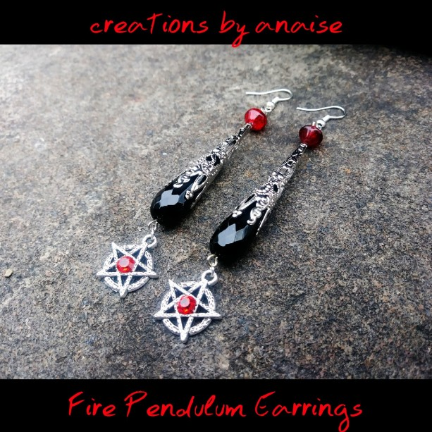 Onyx Pendulum Pentacle Earrings