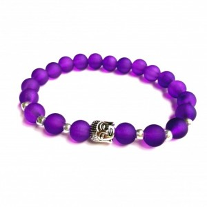 Silver Buddha Bracelet (Blue or Purple)