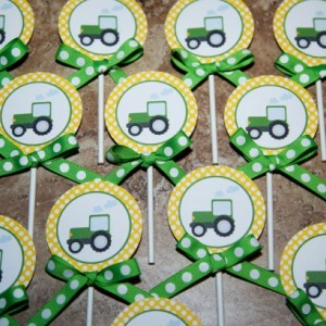 John Deere Tractor themed cupcake toppers- (Quantity 24)