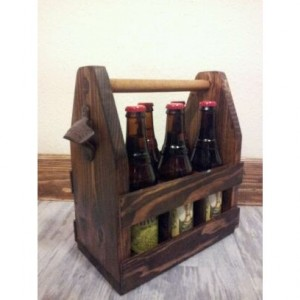 Wood beer caddy, bridegroom gift