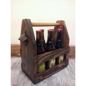 Wood beer caddy, bridegroom gift