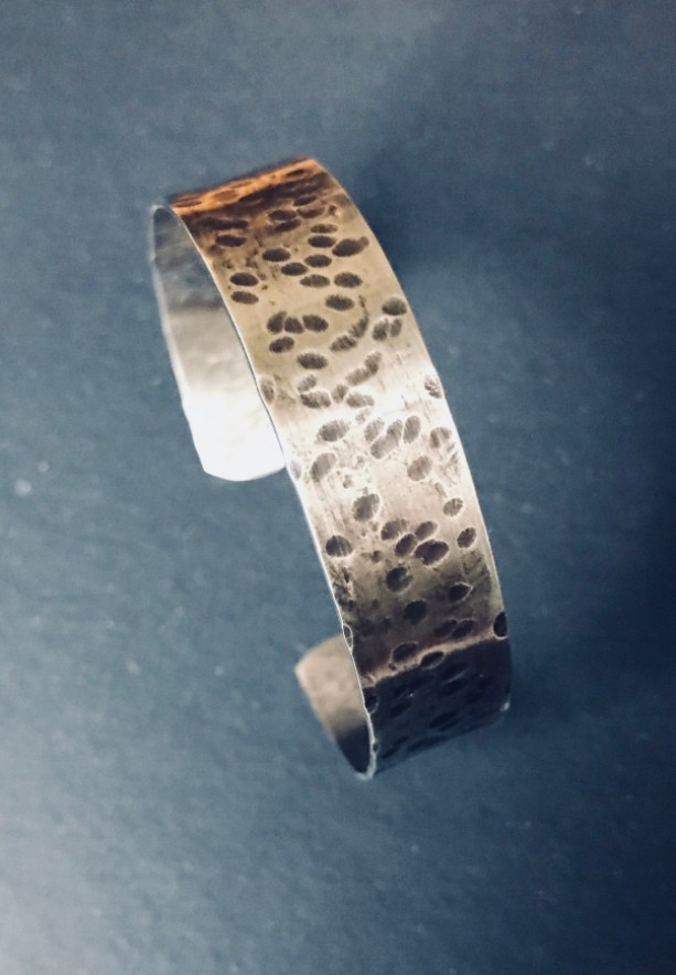 925 Sterling Silver Hammered Oxidized Cuff Bracelet.
