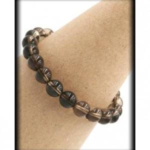 Smokey Quartz Solid Bracelet for Emotional and Mental Protection