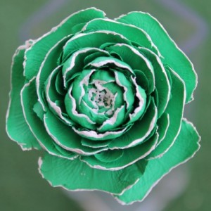 Light Green Hand-Painted Cedar Rose Pine Cone Flower