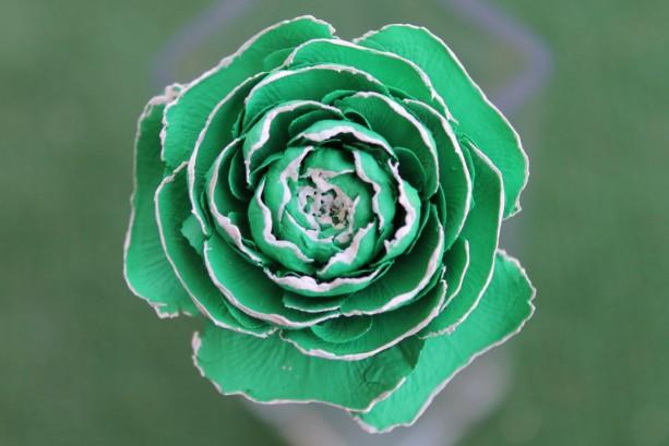 Light Green Hand-Painted Cedar Rose Pine Cone Flower