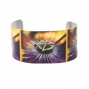 Photo cuff bracelet, aluminum, Purple Passion Flower, fine art for wrist, HueDew