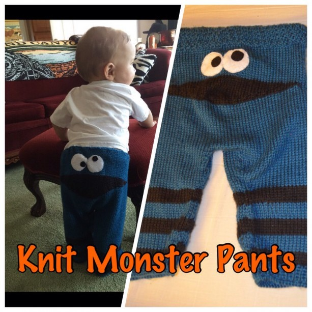 Knit Monster Pants, blue and black