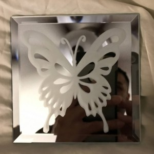 Spring Butterfly Mirror Glass Etching