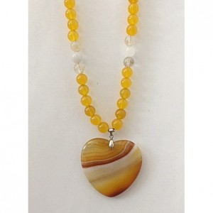 Yellow & White Beaded Necklace with Heart Pendant