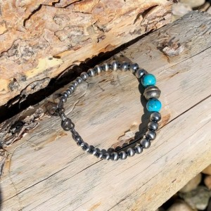 Turquoise and Navajo Pearl Bracelet