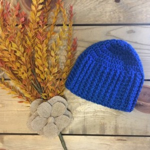 Beautiful crochet blue baby beanie