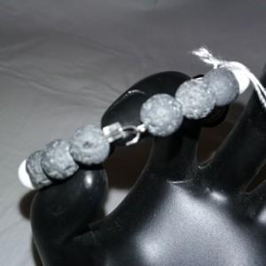 Zebra Agate Gemstone w/Lava Stone Diffuser Flex Bracelet