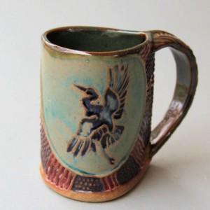 Blue Heron Mug Coffee Cup Handmade Functional Tableware Microwave and Dishwasher Safe 12 oz