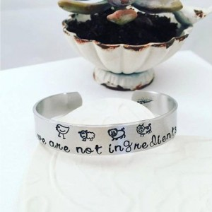Vegan Bracelet - We are not ingredients Cuff Bracelet - Vegan Hand Stamped Jewelry - Hand Stamped Cuff Bracelet - Gift For Her - Veganism