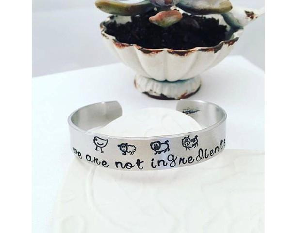 Vegan Bracelet - We are not ingredients Cuff Bracelet - Vegan Hand Stamped Jewelry - Hand Stamped Cuff Bracelet - Gift For Her - Veganism