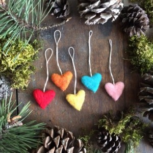 Felted wool heart ornaments, set of 5, Bright Rainbow, for Valentine's Day, Christmas ornament, rainbow ornament, mini rainbow ornament set