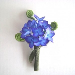 Wedding Hydrangea Boutonniere Groomsmen Blue Purple Flower Best Man Flower Made -to- Order