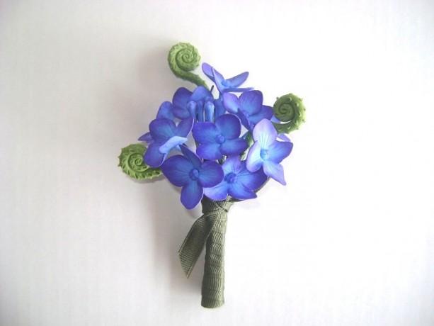 Wedding Hydrangea Boutonniere Groomsmen Blue Purple Flower Best Man Flower Made -to- Order