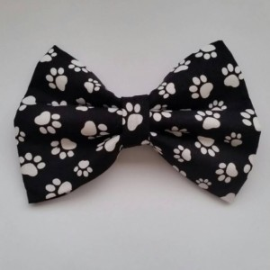 Black and white paw print pet bow tie