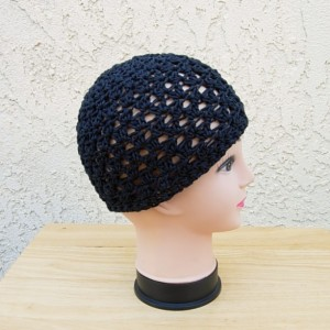 Solid Off Black Summer Beanie Hat, Soft 100% Cotton Lacy Lace Skull Cap, Women's Men's Crochet Knit Airy Chemo Cap, Ready to Ship in 3 Days