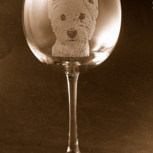 Etched West Highland Terrier / Westie on Elegant Wine Glass (set of 2)
